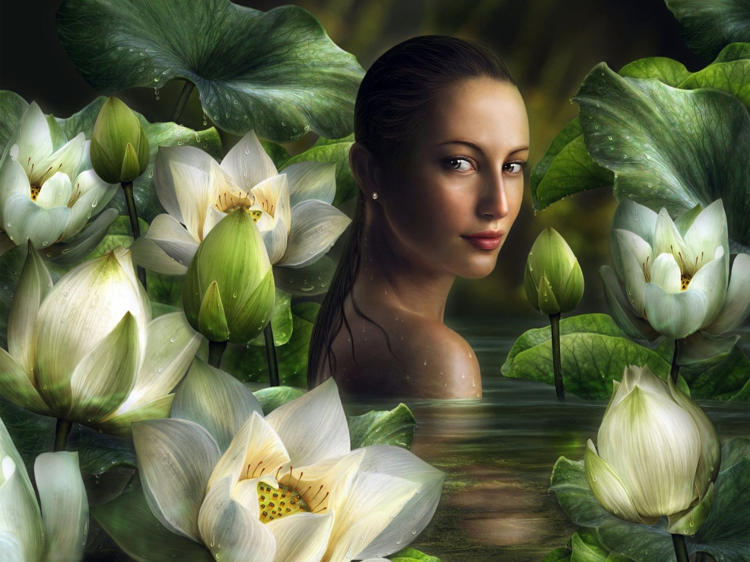 drawn_wallpapers___painted_girls_girl_in_the_water_with_lilies_093062_